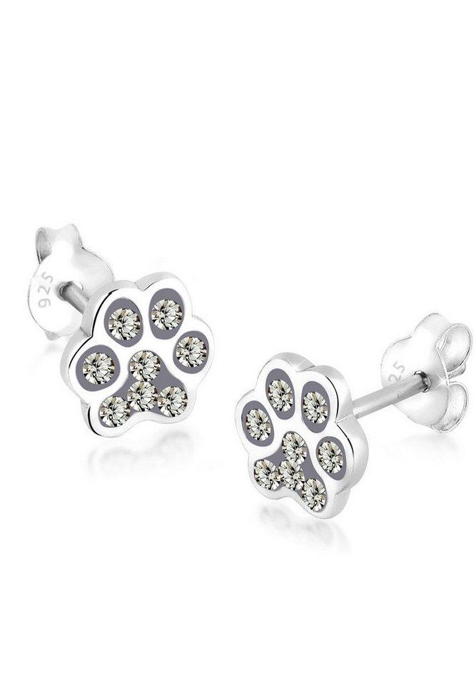 Elli Ohrringe »Katzenpfoten Pfote Swarovski® Kristalle Silber« in Grau