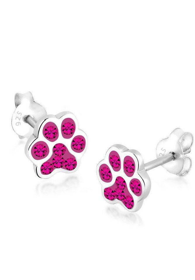 Elli Ohrringe »Katzenpfoten Pfote Swarovski® Kristalle Silber« in Pink