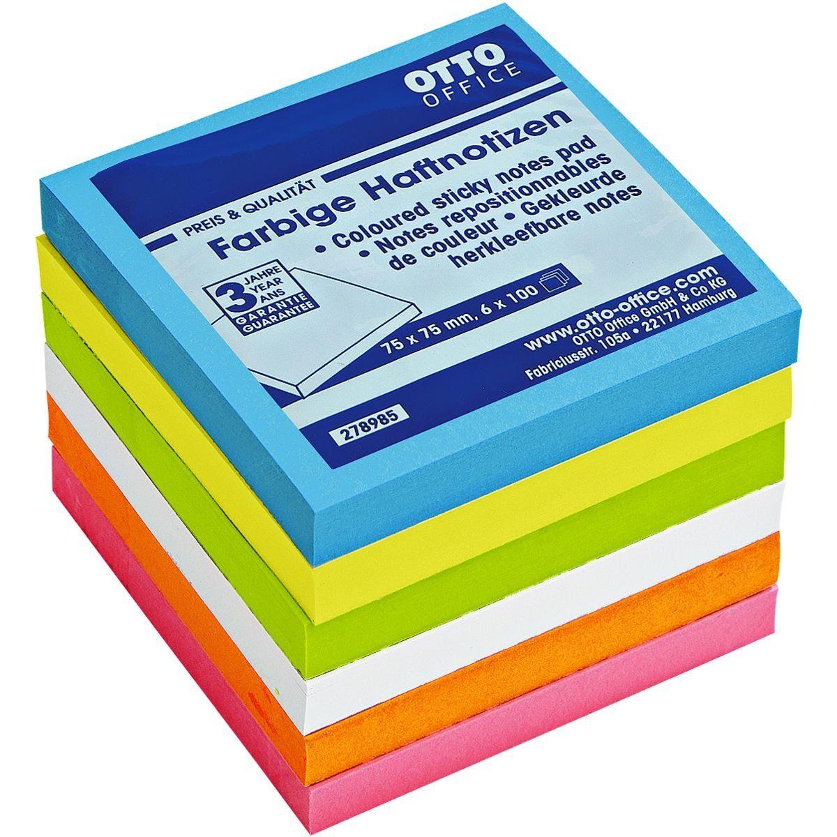 OTTOOFFICE STANDARD Haftnotizblock 7,5 x 7,5 cm, 6 Stück