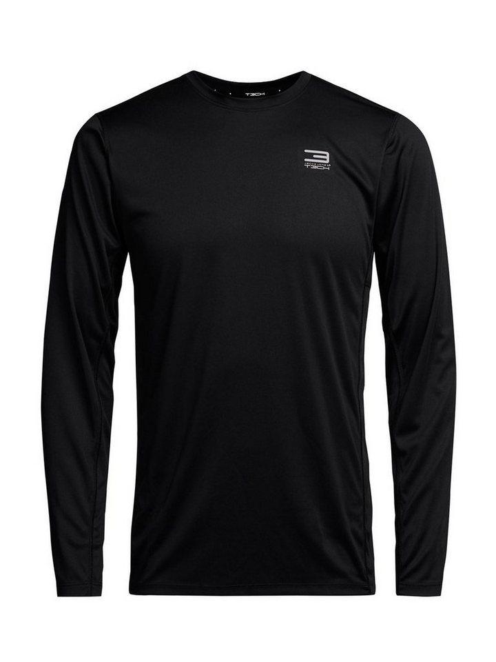 Jack & Jones Sport- T-Shirt mit langen Ärmeln in Black