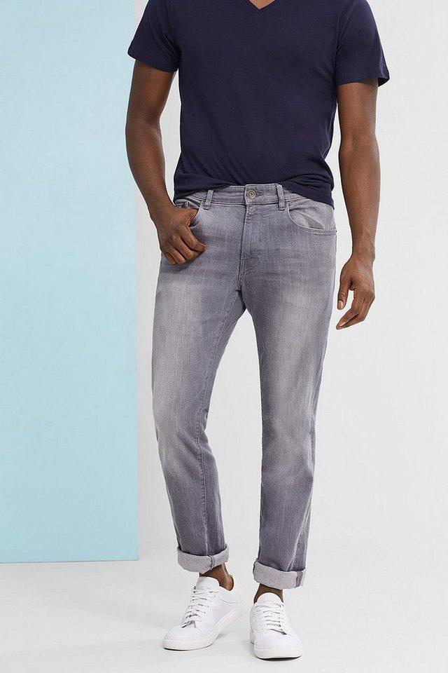 ESPRIT CASUAL Graue 5-Pocket-Jeans aus Stretch-Denim in GREY MEDIUM WASHED