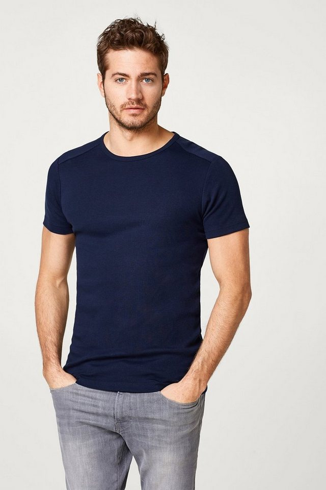 ESPRIT CASUAL Basic Ripp T-Shirt, 100% Baumwolle in NAVY