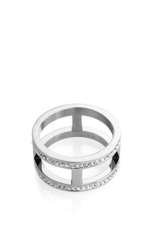 ESPRIT CASUAL Ring aus Edelstahl mit Zirkonia-Steinen in one colour
