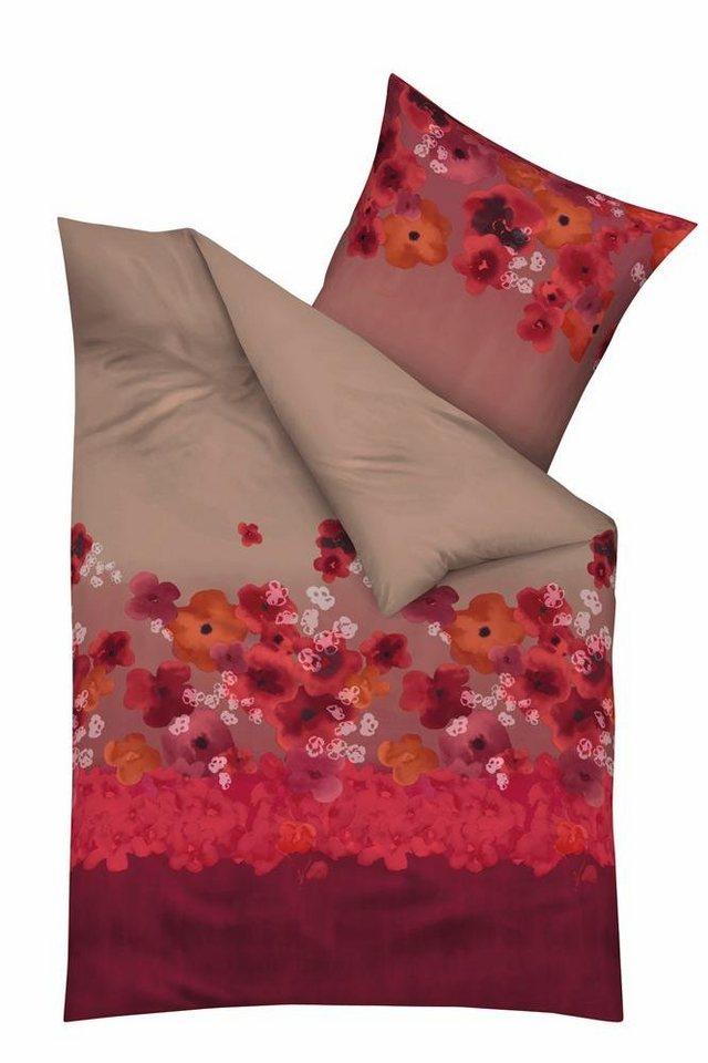 Bettwäsche, Kaeppel, »Pompom«, mit gemalten Blümchen in rot
