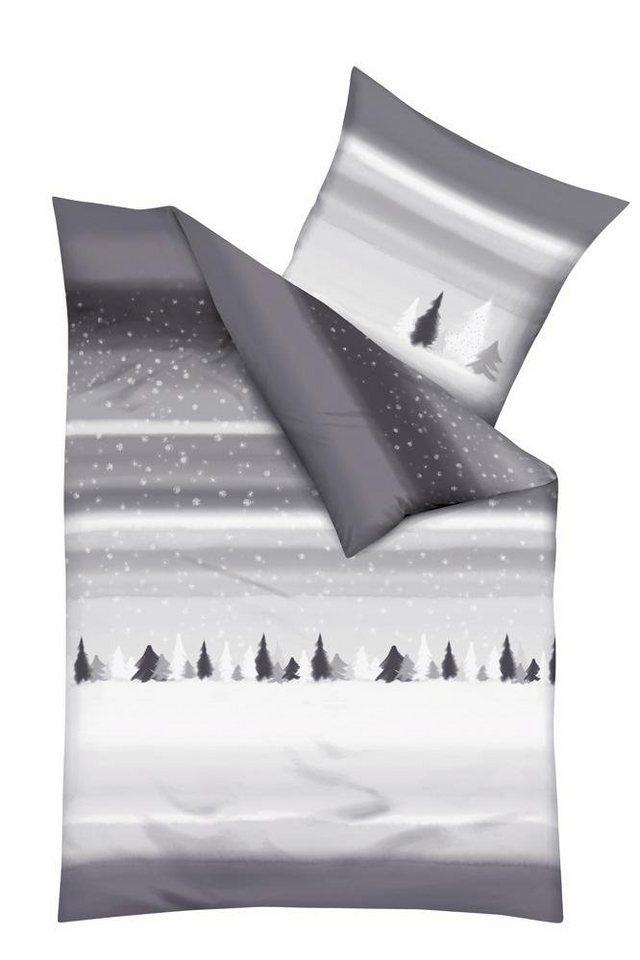 Bettwäsche, Kaeppel, »Let it snow«, mit traumhafter Winterlandschaft in silber