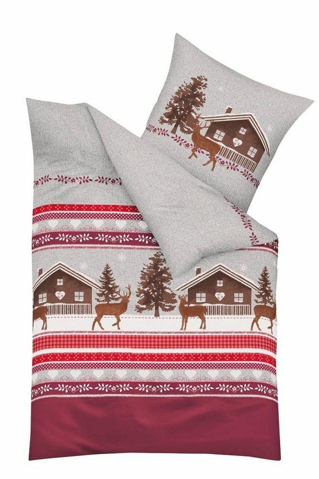 Bettwäsche, Kaeppel, »Snow Lodge«, in winterlichem Design in burgund
