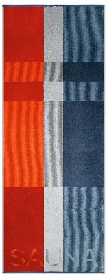Saunatuch, Egeria, »Liam«, mit Sauna Schriftzug in blau-rot