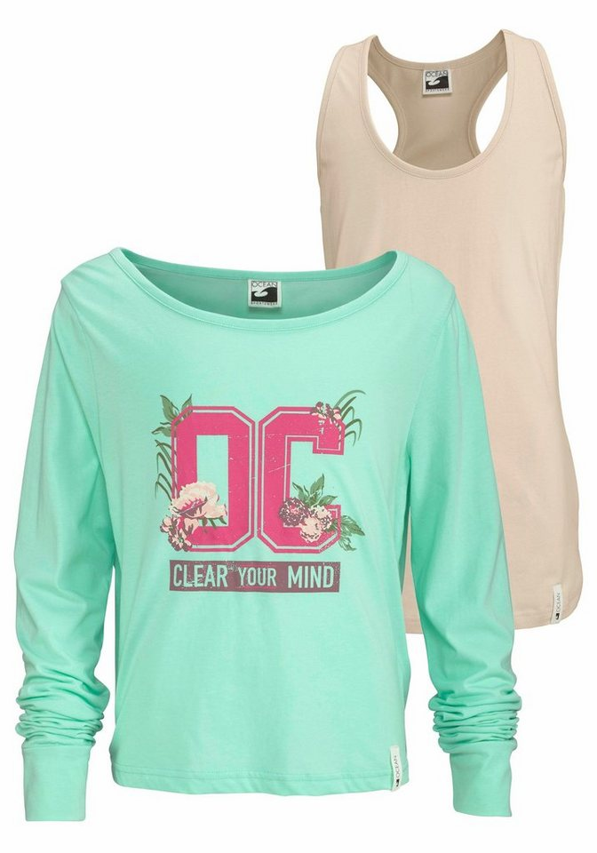 Ocean Sportswear Langarmshirt (Set, 2 tlg., 2er-Pack) in mint+natur