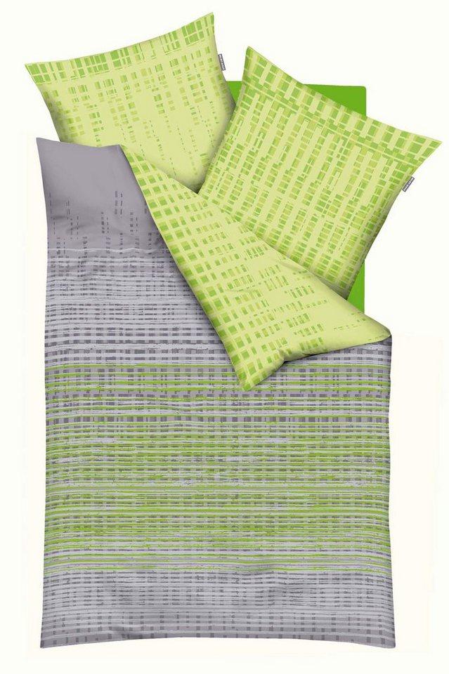 Bettwäsche, Kaeppel, »Interactive«, mit kleinen Vierecken bedruckt in grün