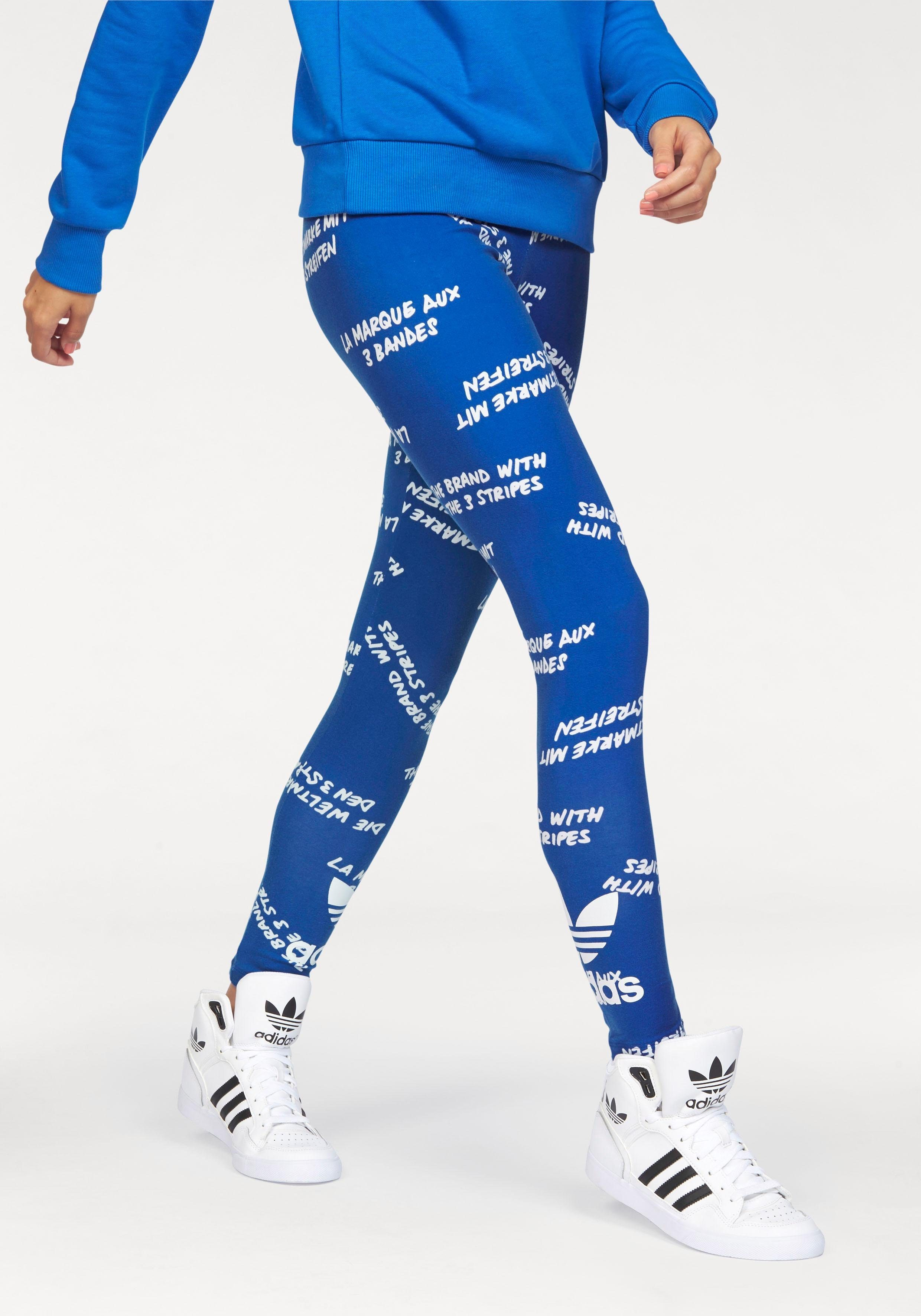 Adidas Originals Damen Klassisch 3 Streifen Tight Fit Leggings Stretch blau weiß