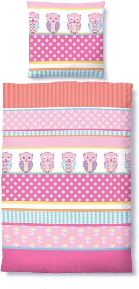 Kinderbettwäsche, Biberna, »Eulentraum«, mit Eulen in pink
