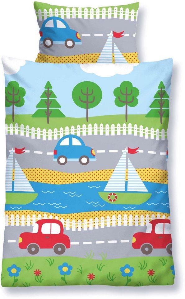 Kinderbettwäsche, Biberna, »Reise«, mit Autos & Booten in multi