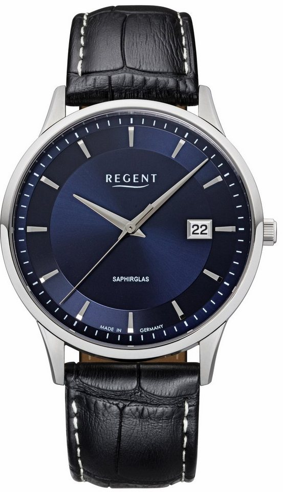 Regent Quarzuhr »11110753« Made in Germany in schwarz