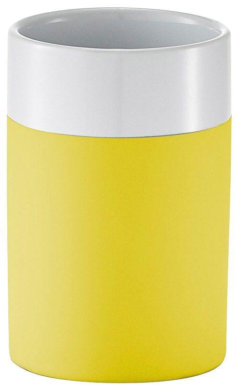 Zahnputzbecher »Rubber« in gelb/weiß
