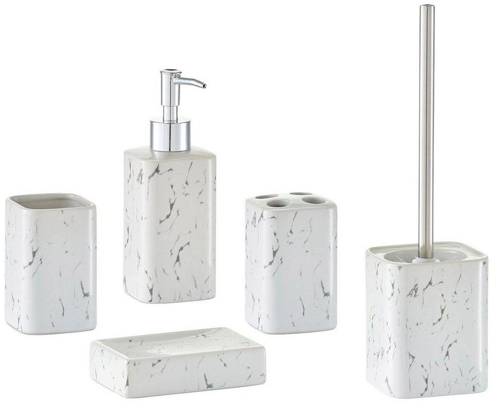Bad-Accessoire-Set »Marmor«, 5-tlg. in weiß