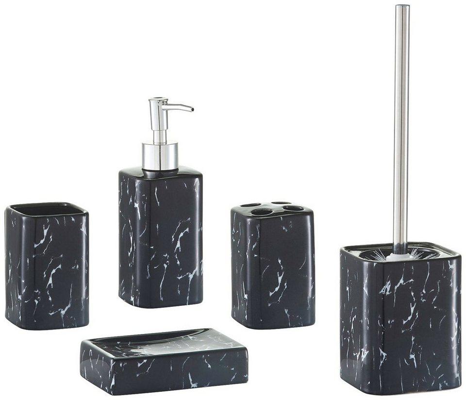 Bad-Accessoire-Set »Marmor«, 5-tlg. in schwarz