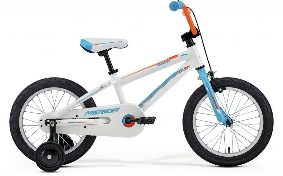 Merida Kinderrad »Matts J16 Boy weiß/cyan/orange« in weiß
