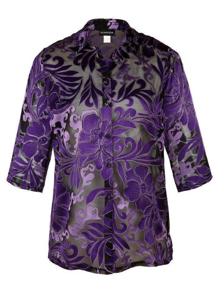 MIAMODA Bluse aus transparentem Material in schwarz/lila