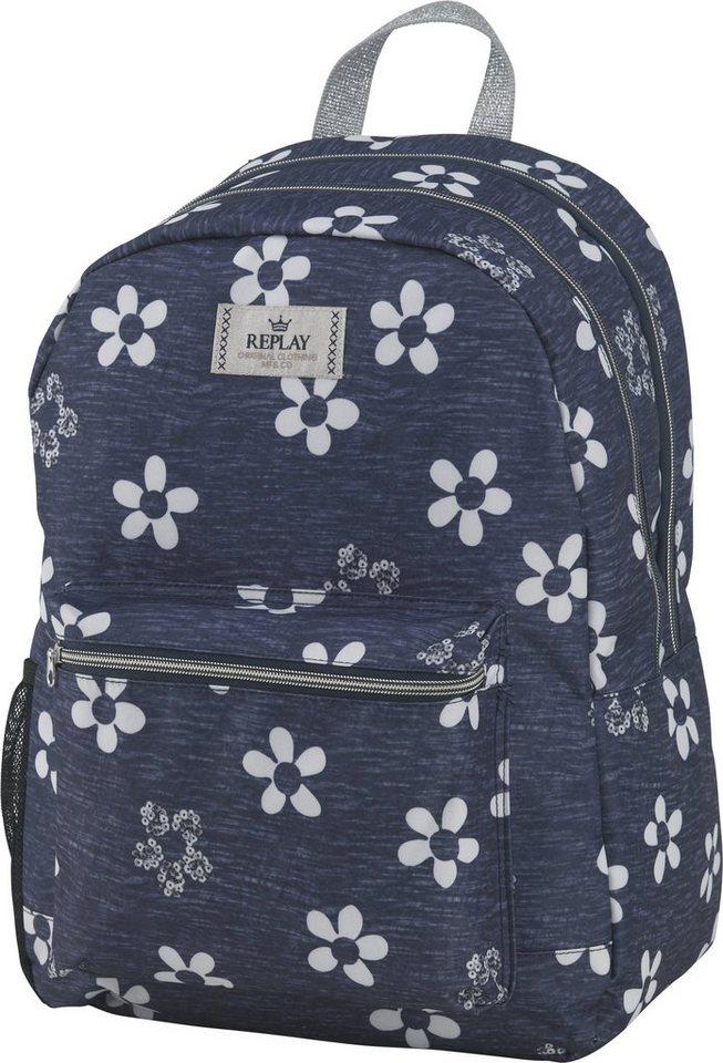 Replay, Rucksack, »Girls Backpack blau, groß, Vol. 27 Liter« in blau