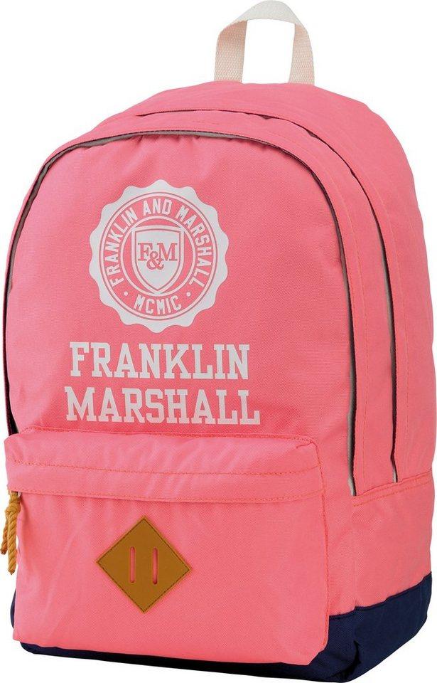 Franklin & Marshall, Rucksack mit gummiertem Bodenschutz, »Girls Backpack rosa, Vol. 23 Liter« in rosa