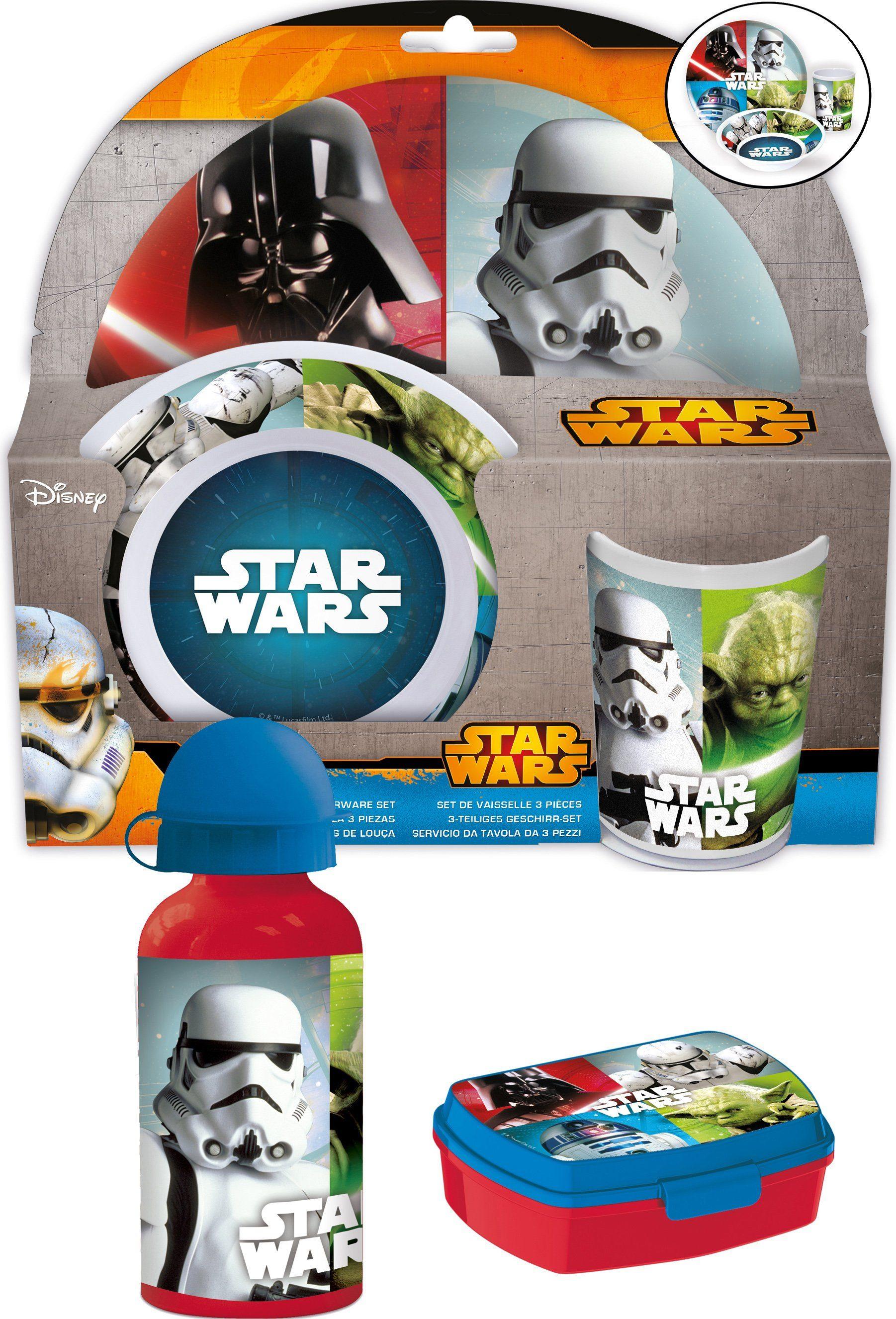 p:os Kindergeschirrset mit Trinkflasche und Brotdose, »Disney Star Wars Frühstückspaket Promo«