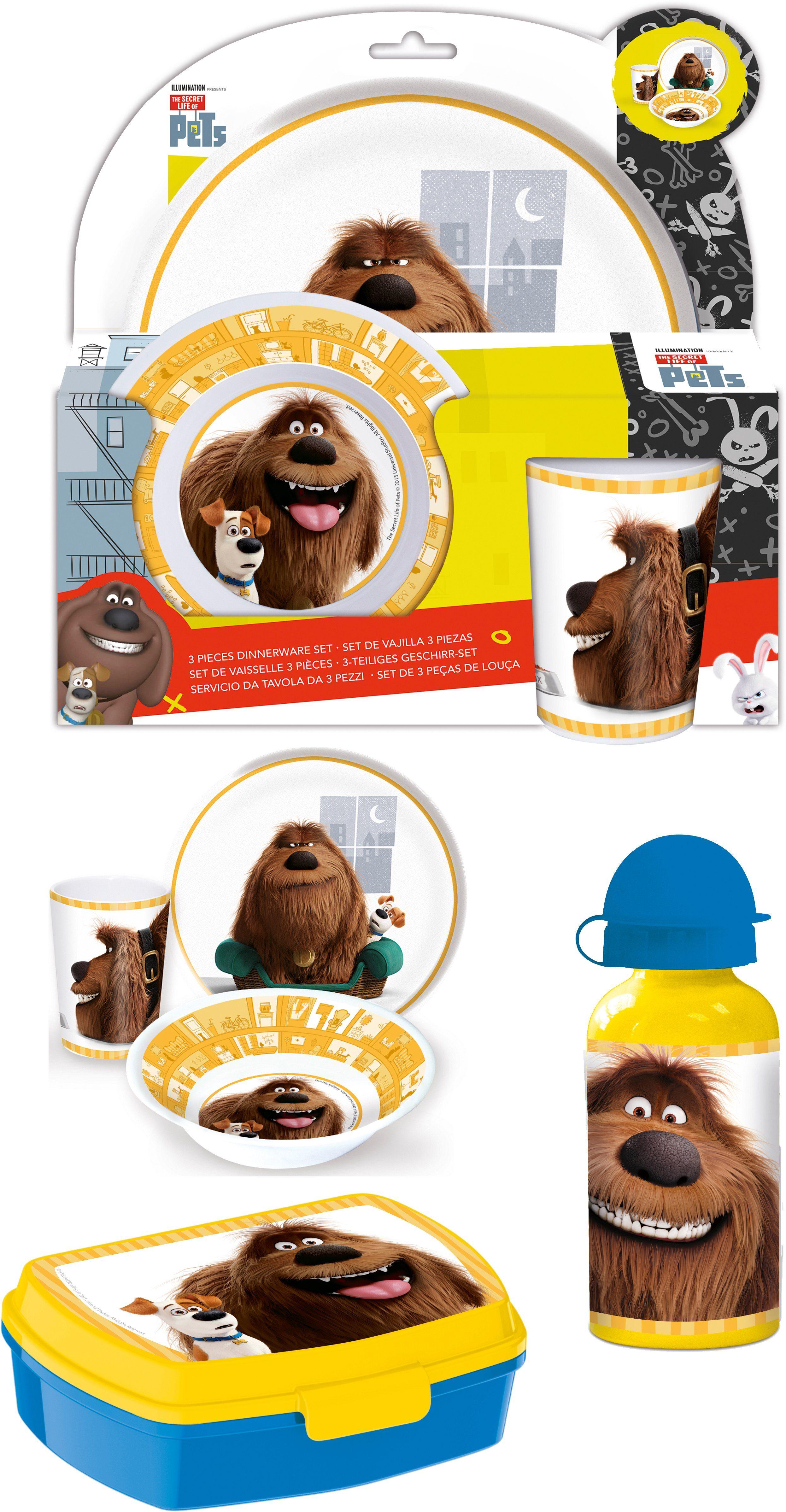 p:os Kindergeschirrset mit Trinkflasche und Brotdose, »Pets Frühstückspaket Promo«