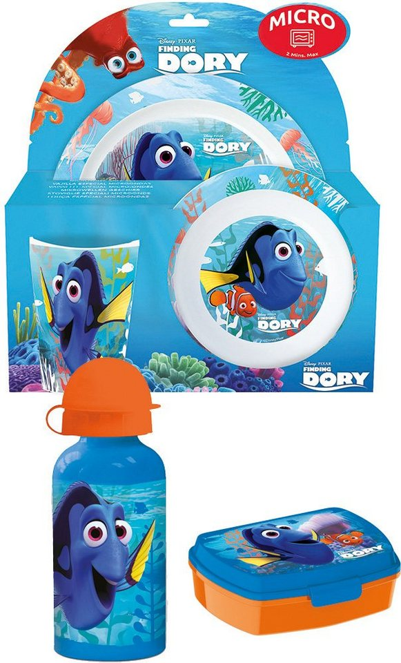 p:os Kindergeschirrset m. Trinkflasche - Brotdose, »Disney Pixar Finding Dory Frühstückspaket Promo«