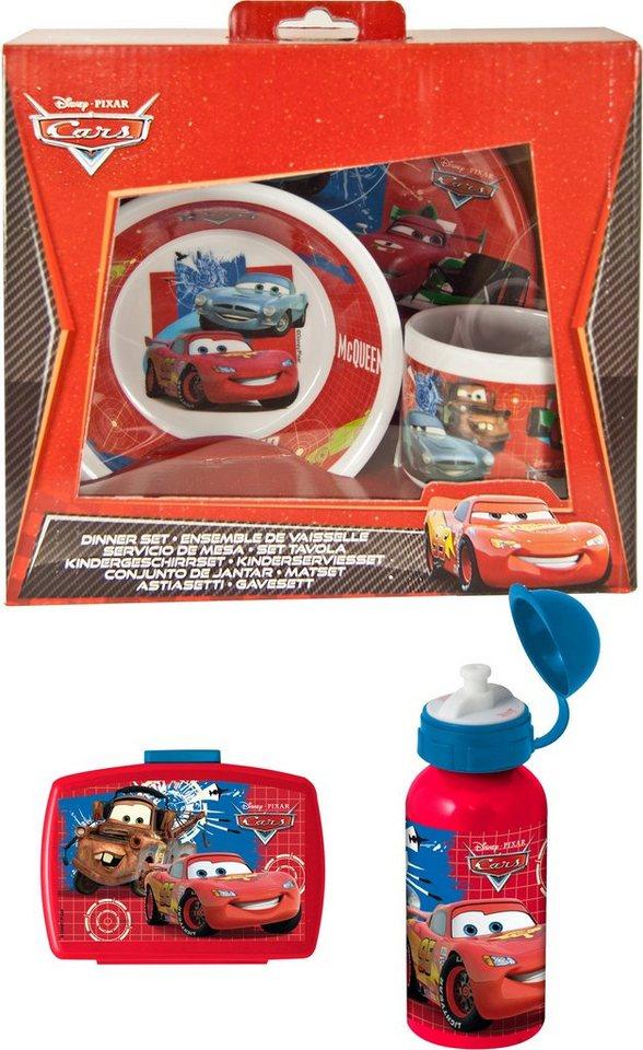 p:os Kindergeschirrset - Trinkflasche u. Brotdose, »Disney Pixar Cars Frühstückspaket Premium, rot«