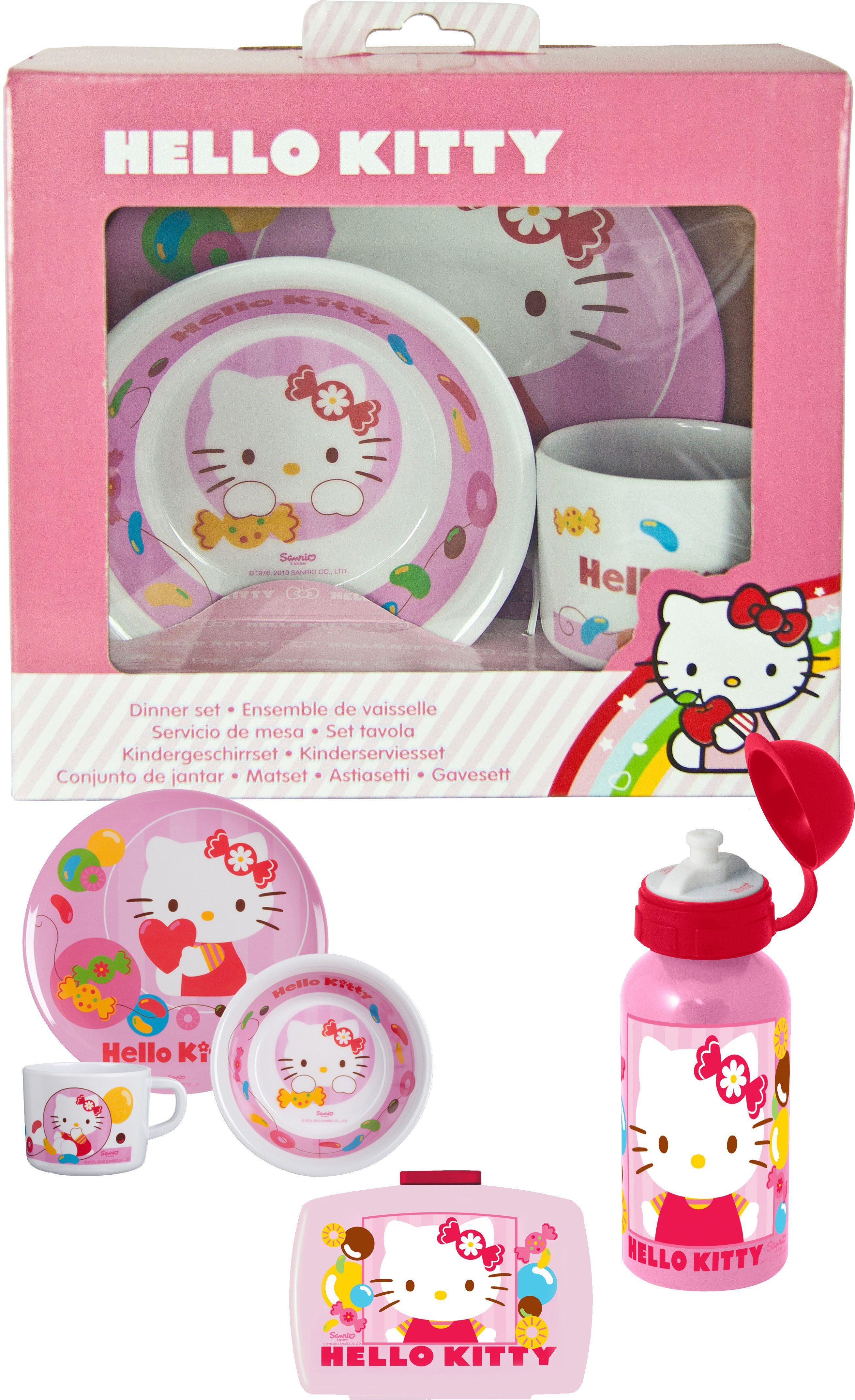 p:os Kindergeschirrset mit Trinkflasche und Brotdose, »Hello Kitty Frühstückspaket Premium«