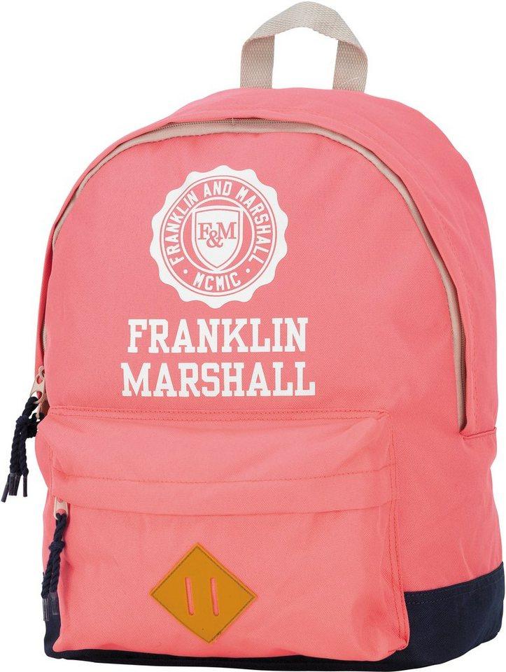 Franklin & Marshall, Rucksack mit gummiertem Bodenschutz, »Girls Backpack rosa, groß, Vol. 16 Liter« in rosa