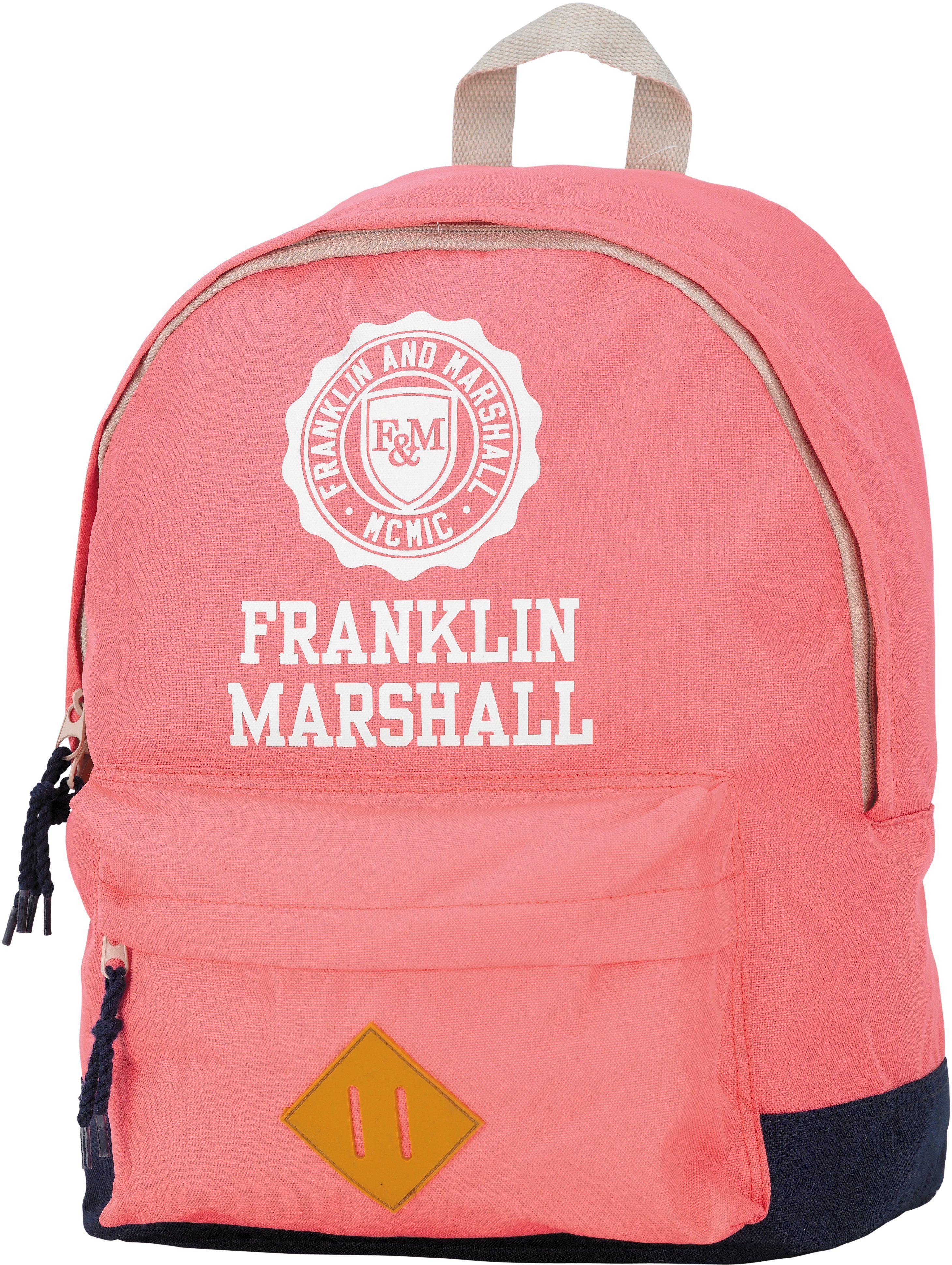 Franklin & Marshall, Rucksack mit gummiertem Bodenschutz, »Girls Backpack rosa, groß, Vol. 16 Liter«