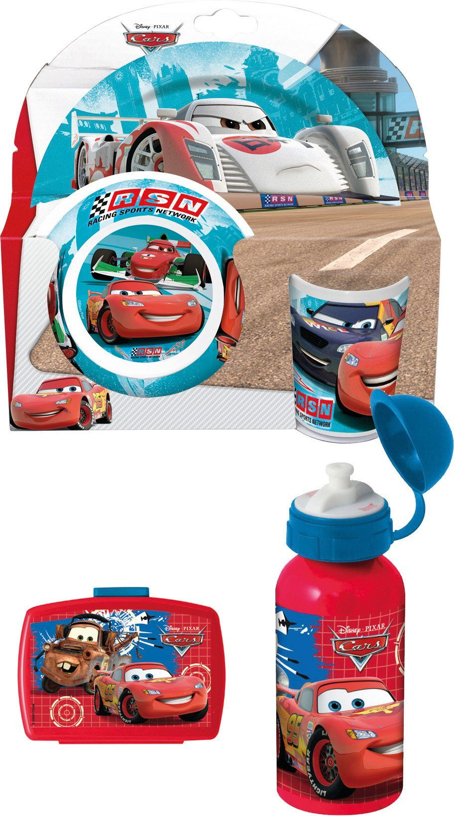 p:os Kindergeschirrset m. Trinkflasche - Brotdose, »Disney Pixar Cars Frühstückspaket Premium, blau«