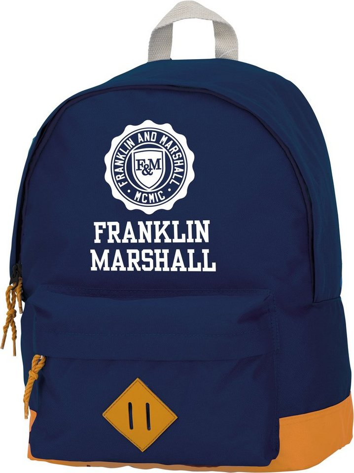 Rucksack mit gummiertem Bodenschutz, »Franklin & Marshall, Boys Backpack dunkelblau, groß« in dunkelblau