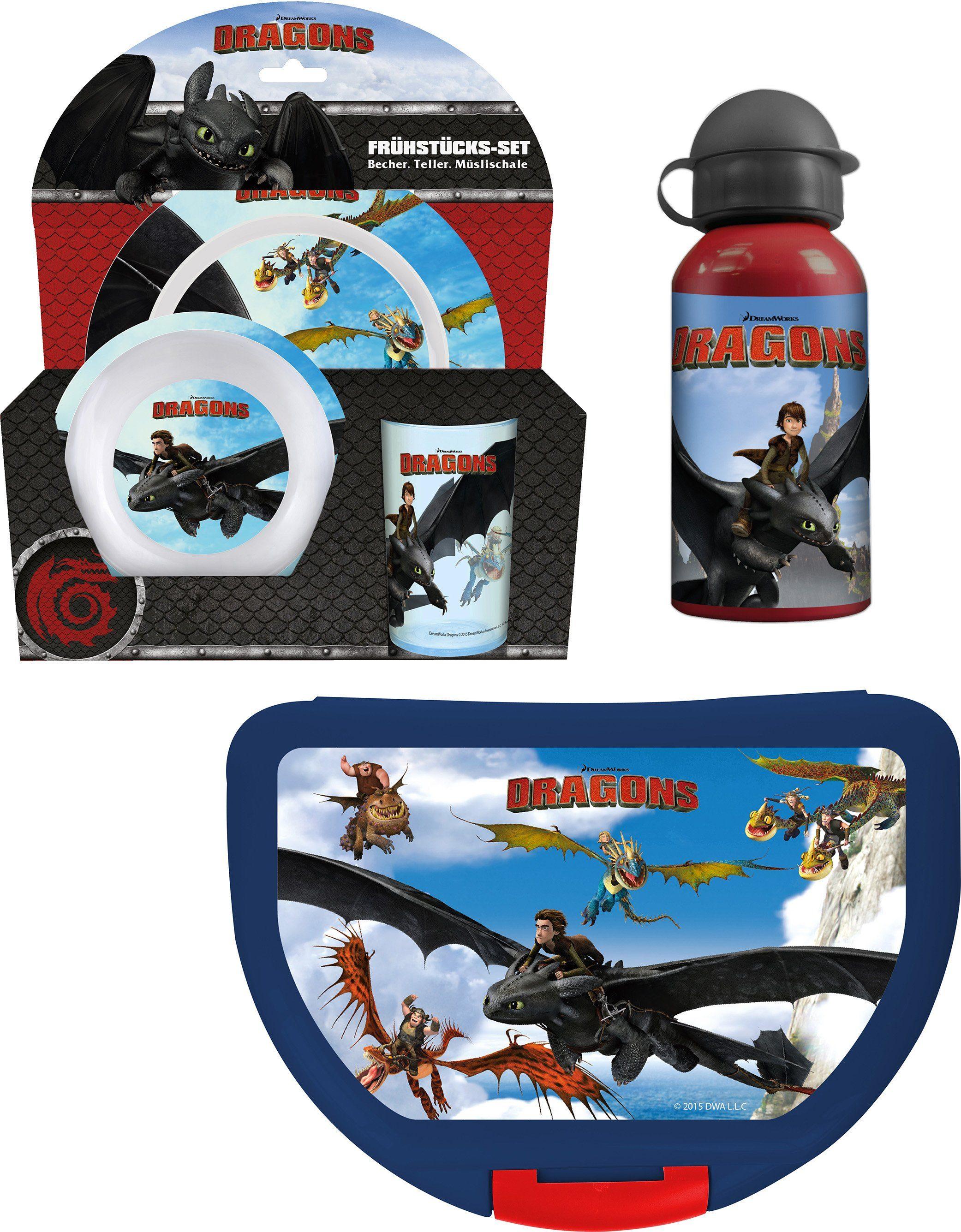 p:os Kindergeschirrset mit Trinkflasche und Brotdose, »DreamWorks Dragons Frühstückspaket Eco«