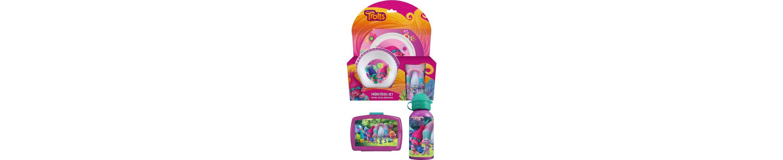 p:os Kindergeschirrset mit Trinkflasche und Brotdose, »DreamWorks Trolls Frühstückspaket Premium«