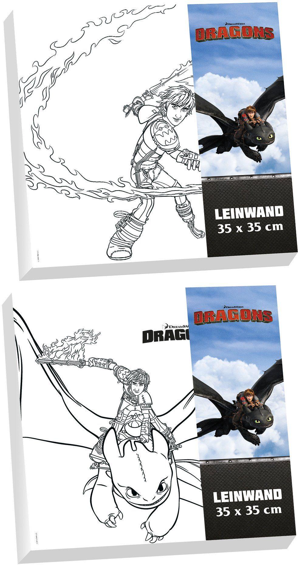p:os Malvorlage mit Pinsel und Farben, »DreamWorks Dragons Canvas Malset«