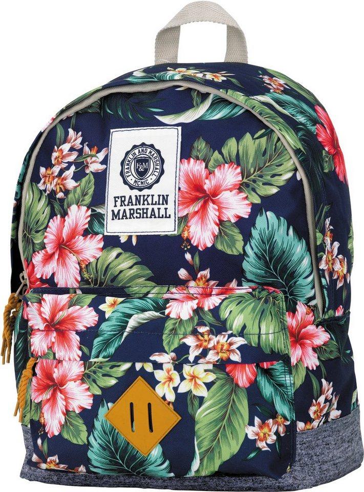 Franklin & Marshall, Rucksack mit gummiertem Bodenschutz, »Girls Backpack blumen, groß, Vol. 16 Liter« in blumen