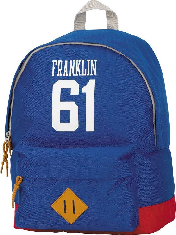 Franklin & Marshall, Rucksack mit gummiertem Bodenschutz, »Boys Backpack hellblau, groß« in hellblau