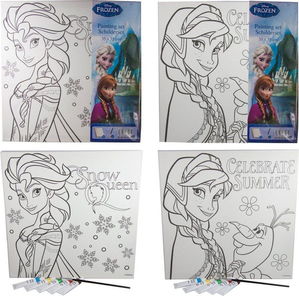 p:os Malvorlage mit Pinsel und Farben, »Disney Frozen Canvas Malset«
