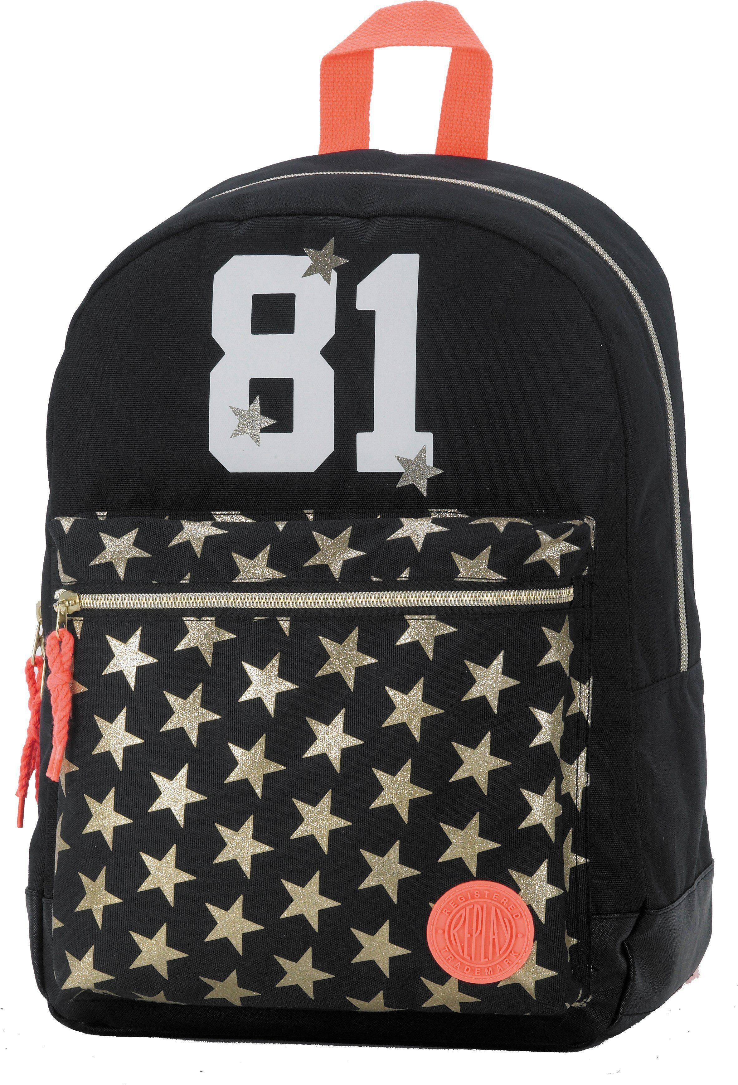 Replay Schulrucksack mit gummiertem Bodenschutz, »Classic Girls Backpack schwarz«