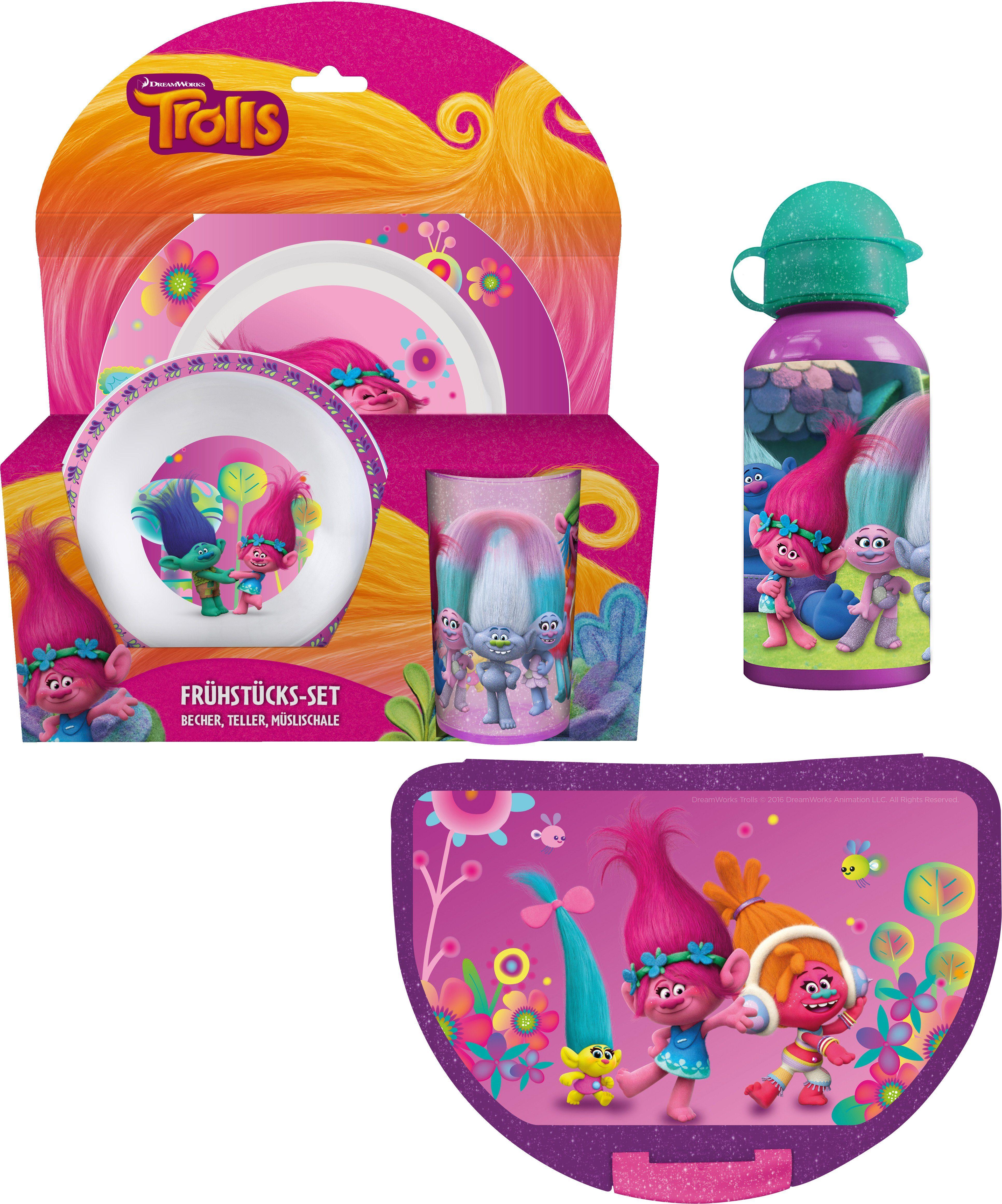 p:os Kindergeschirrset mit Trinkflasche und Brotdose, »DreamWorks Trolls Frühstückspaket Eco«