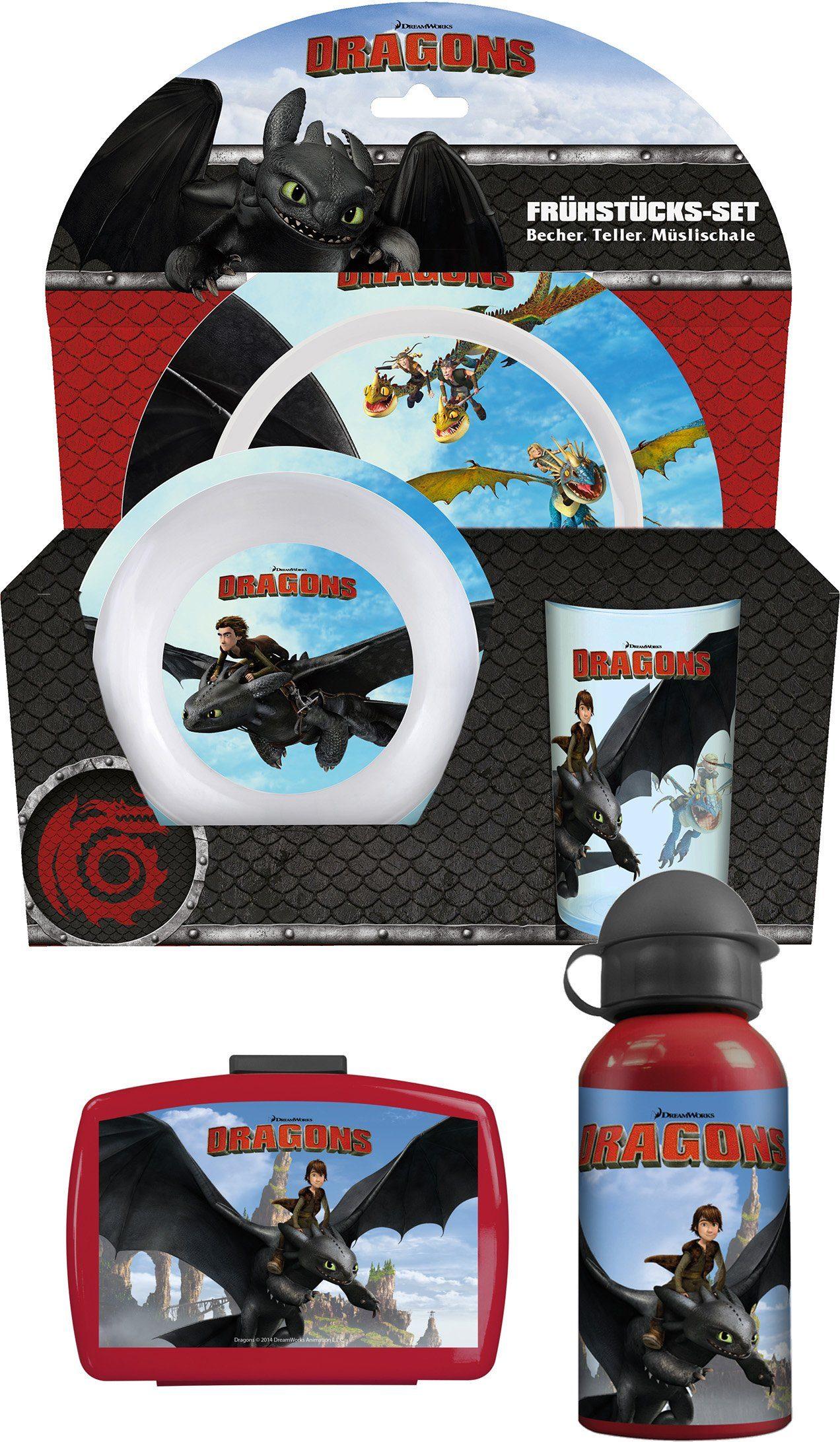 p:os Kindergeschirrset mit Trinkflasche und Brotdose, »DreamWorks Dragons Frühstückspaket Premium«