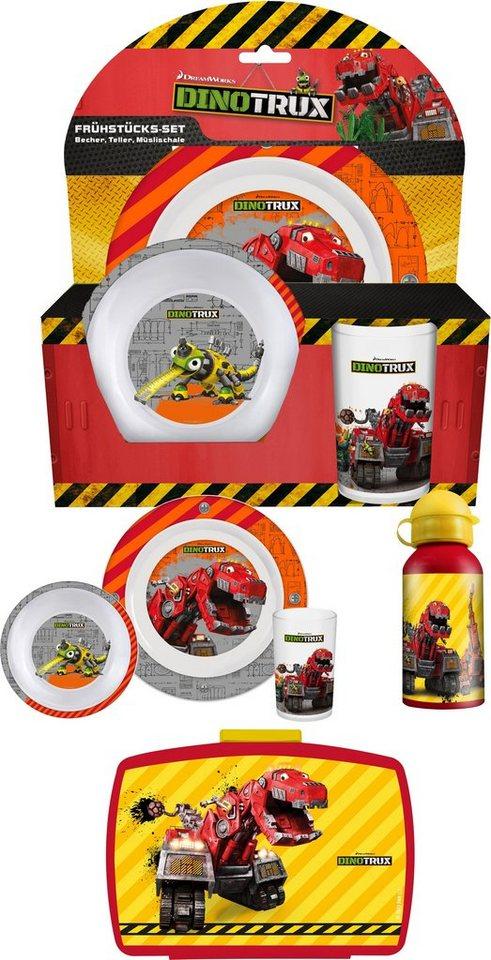 p:os Kindergeschirrset mit Trinkflasche und Brotdose, »DreamWorks Dinotrux Frühstückspaket Premium«
