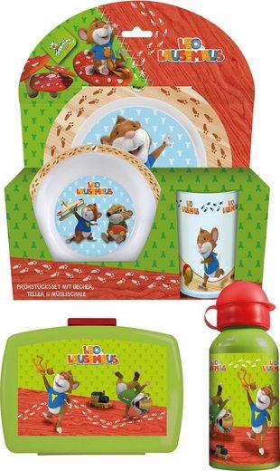 p:os Kindergeschirrset mit Trinkflasche und Brotdose, »Leo Lausemaus™ Frühstückspaket Premium«