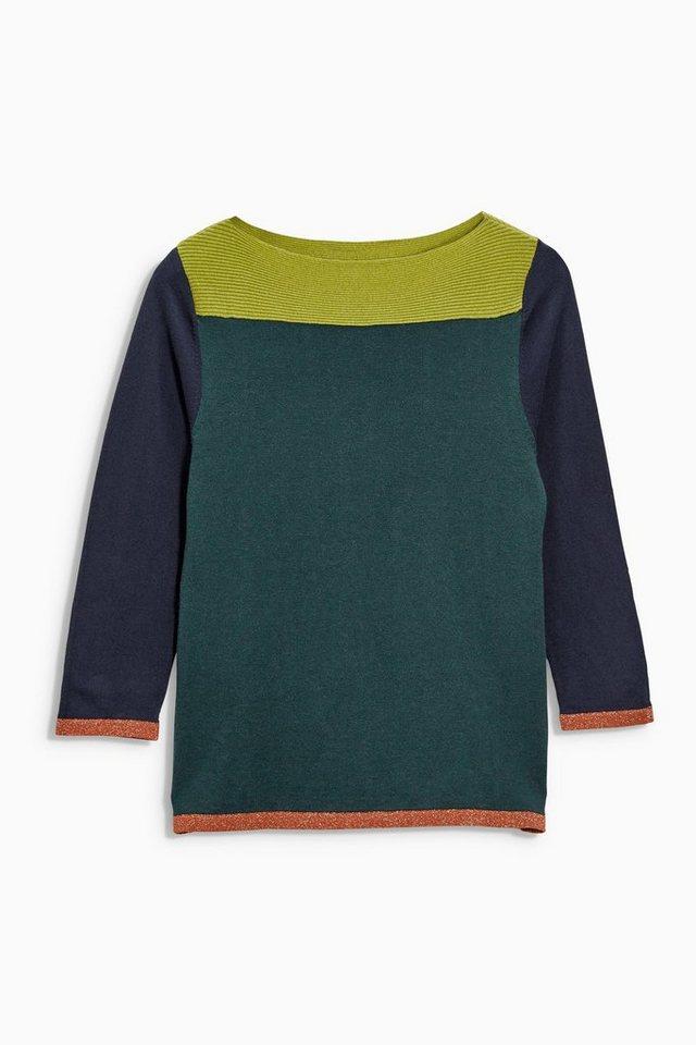 Next Gemusterter Pullover mit U-Boot-Ausschnitt in Green Colourblock Regular
