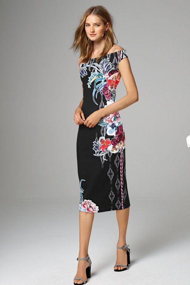 Next Figurbetontes Kleid mit floralem Muster in Navy Regular