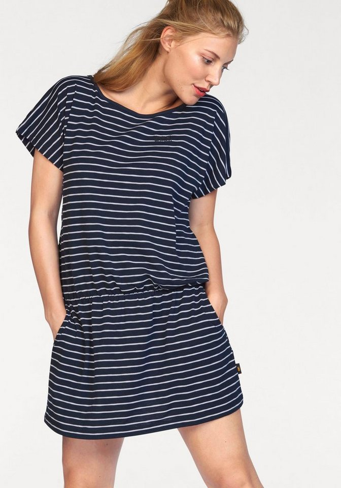 Jack Wolfskin Jerseykleid »TRAVEL STRIPED DRESS« aus leichter Shirtware in marine-weiß