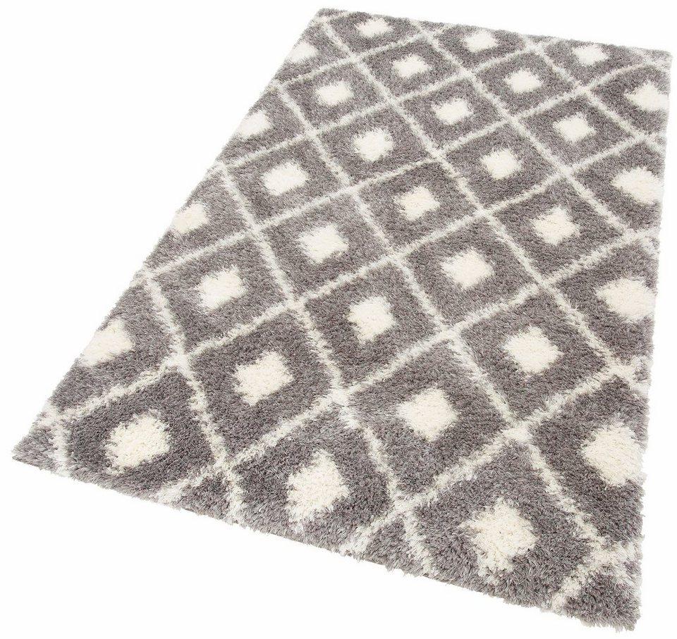 Hochflor-Teppich, my home Selection, »Maren«, Höhe 50 mm, gewebt in grau
