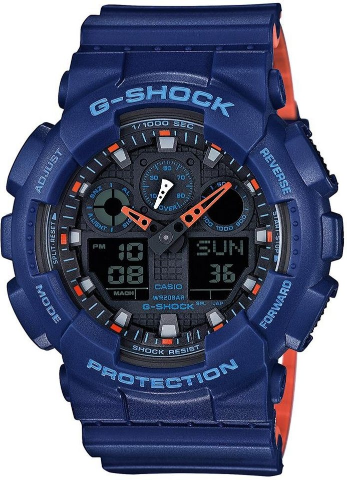 Casio G-Shock Chronograph »GA-100L-2AER« in blau-orange