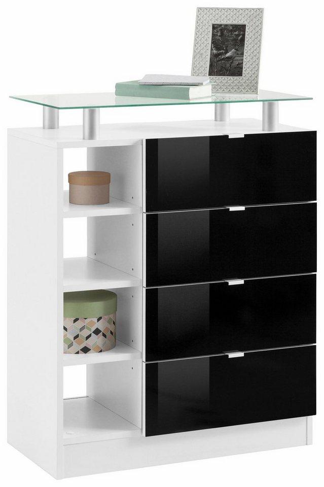 Kommode schwarz weiß  Borchardt Möbel Kommode, »Dolly« Breite 67 cm, mit Glasablage online ...